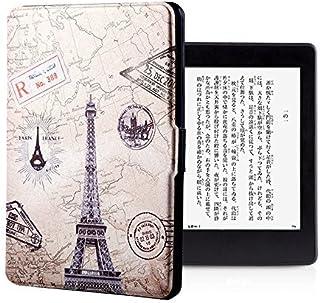 MALYLUO Kindle Paperwhite専用カバー 手帳型 Kindleケース kindle Paperwhite1/2/3 Kindleカバー 北欧風 ペインティング 十字紋 軽量 薄型 シンプル puレザーKindleケース 電子書スマートカバー Kindle Paperwhite専用ケース (ペインティング・タワー)