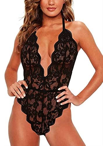 CheChury Mujer Erótica Ropa Interior Teddy Bodysuit Lenceria Malla Babydoll Sexy Mujer Encaje Atractivo Bordado Ropa de Dormir