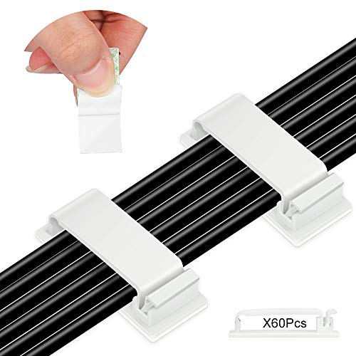 60 Clips Adhesivos para Cables,Organizador Cables 46X20mm,Clips de Cable,para Cables en Hogar,...