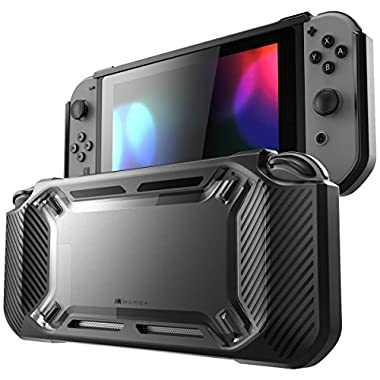 Mumba case for Nintendo Switch, [Heavy Duty] Slim Rubberized [Snap on] Hard Case Cover for Nintendo Switch 2017 release (Clear/Black)