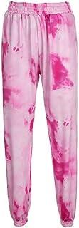 UUYUK Womens Casual Tie Dye Print Elastic Waist Sweatpant Sport Jogging Pants Trousers