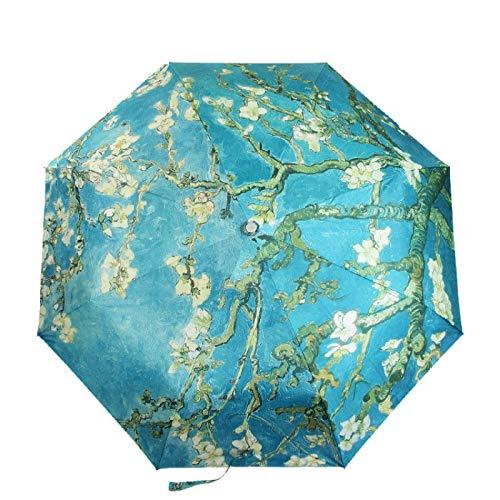 MLDYUS Pintura al óleo de Flor de Almendra 8 Costillas Marco Resistente al Viento para Mujeres Paraguas de Arte Plegable portátil Tres