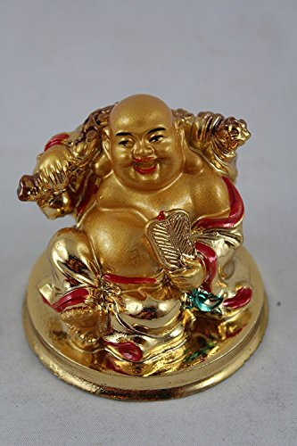 Creativegifts Feng Shui Laughing Buddha holding a FAN for Good Luck Prosperity + free key chain