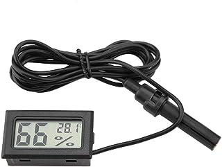 HEEPDD Mini termómetro Integrado Higrómetro Pantalla LCD Monitor de Temperatura y Humedad con sonda Externa para incubadoras Criadoras Tanque de Reptiles Acuario
