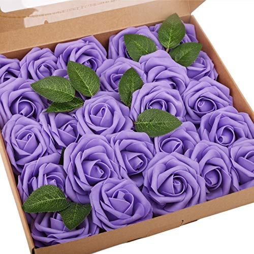 BOMAROLAN Artificial Rose Flowers Real Touch 25pcs Faux Foam Roses Fake Flower Head w/Stem, DIY Wedding Decor Bridal Bridesmaid Bouquets Centerpieces Baby Shower Party Home Decorations (Deep Purple)