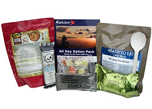 Ration-X All Day Ration Pack 2100 kcal Ready to Eat Wet Meals Dessert Plus...