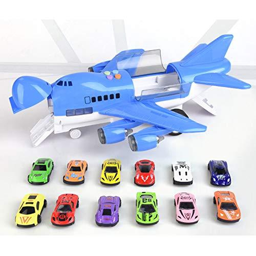 赤ちゃんのためのおもちゃの飛行機40CM特大エアバス玩具12合金車と音楽トラック、柔らかな照明と歌う平面、子供のための教育玩具,Blue