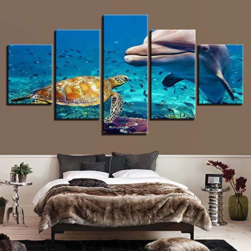 5 Stück Meeresschildkröten Wandkunst Modulare Fischbilder Kunstwerk Poster Leinwandmalerei HD-Drucke Wohnkultur für Wohnzimmer-10x15/20/25cm Without frame