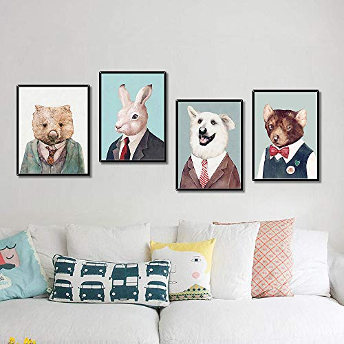 WADPJ Cartoon Animal Portrait Werkkleding Nursery Wall Art Pictures Poster Modern Prints Pictures Living Kids Room Decor-30 x 40 cm x 4 delen zonder lijst