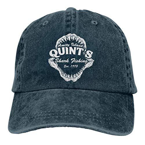 Quints Shark Fishing Jaws Vintage Adjustable Baseball Cap Denim Dad Hat