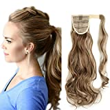 17'(43cm) coleta postiza de pelo sintético rizado con clips extensiones de cabello invisible y natural ponytail hair extension (90g,castaño claro mezcla rubio ceniza)