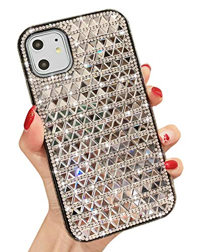 KERZZIL iPhone 11 Case, Handmade Bling Glitter Shiny Rhinestone Diamond Case for Girls and Women, Protective TPU Cover Cases for Apple iPhone 11 6.1Inch (Silver)