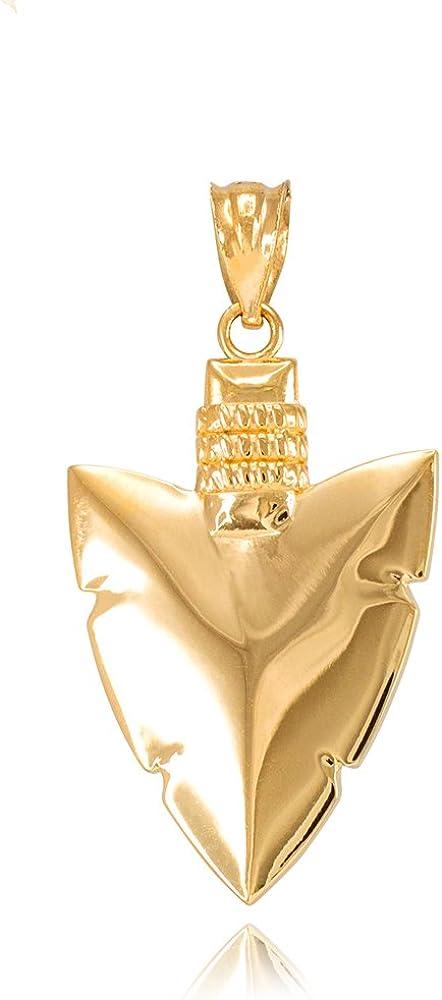 Polished 10k Yellow Gold Serrated Arrowhead Charm Pendant