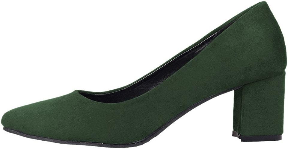 DYF Chaussures femmes nue, forte de couleur solide Talon moyen brut Grande taille,Loisirs,vert 45