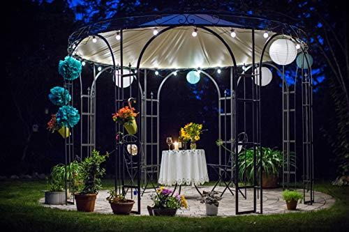 ELEO Florenz wunderschöner Gartenpavillon Winterfest I Rundpavillon Schwarz Ø 3,7 m I Stabiler Rosenpavillon aus Schmiedeeisen mit Messingkugel & Sonnensegel I Pavillon für Garten