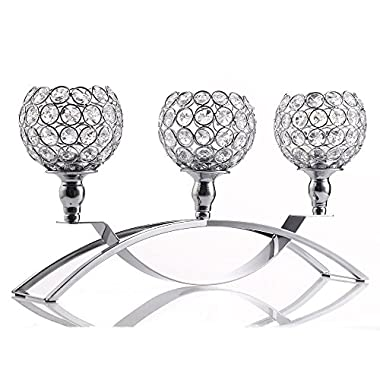 VINCIGANT Home Decoration Silver Crystal Candle Holders with 3 Arms Candelabra for Wedding Dining Coffee Table Decorative Centerpiece,Anniversary Celebration Gifts