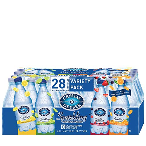 Crystal Geyser Variety Pack, 4 Flavors, Sparkling Spring Water PET Plastic Bottles, No Artificial Ingredients or Sweeteners, 18 Fl Oz (Pack of 28)