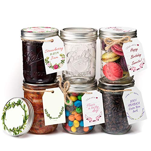 Ball Mason Jar Canning Jars – 16 oz Mason Jar [Set of 6 Pint Jars] with Stylish Stickers & Tags in 4 different designs on Jute Rope – USDA Approved Mason Jars Glass Jar with Lid and Bands