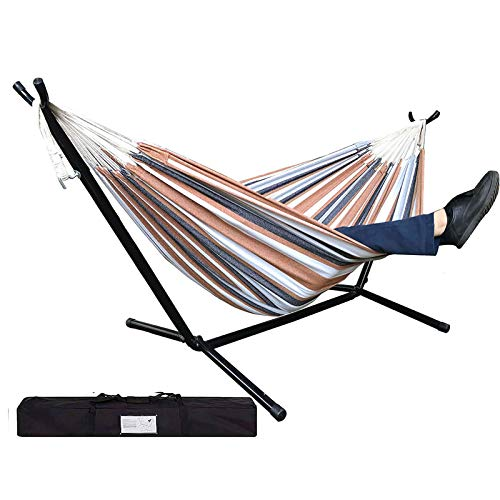 Trmbacy Hammock with Stand Portable Double Hammock Bed hammocks for Outdoor Patio or Indoor(450 lb Capacity - Premium Carry Bag Included)