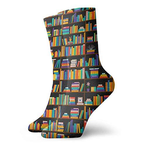 wwoman Novedad Divertida Crazy Crew Sock Libros en estantes Estantería Biblioteca Biblioteca Impreso Deporte Calcetines deportivos Calcetines de regalo personalizados de 30 cm de largo