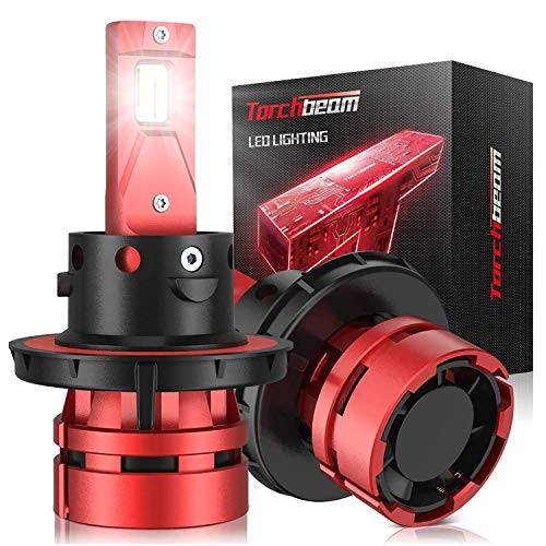 Torchbeam T2 H13/9008 LED Headlight Bulbs, 12000LM 6500K Cool White, Compact Size, 400% Brightness, Replacement Bulbs