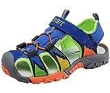 DADAWEN Boys Girls Sandals Outdoor Closed-Toe Summer Beach Hiking Athletic Water Sandals (Toddler/Little Kid/Big Kid) Blue US Size 13 M Little Kid