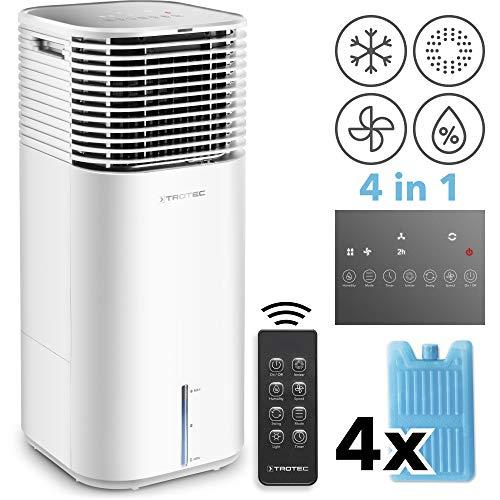 TROTEC PAE 49 Aircooler 4-in-1 Mobile Klimaanlage Luftkühler Luftreiniger Ventilator Luftbefeuchter 20 L Tank 4 Gebläsestufen Ionisator weiß