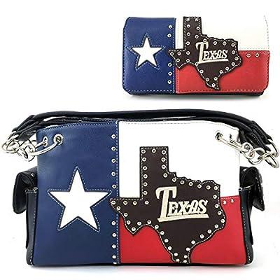 Justin West Texas Red White Blue Flag Patriotic Chain Shoulder Concealed Carry Handbag Purse Trifold Wallet (Purse Wallet Set)