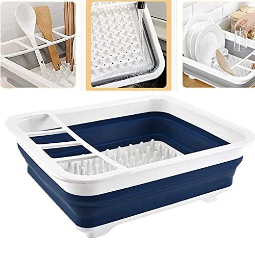 WLHER Vajilla Escurridor Plegable Lavado Bowl Drenaje Plegable de Drenaje Cesta,Escurreplatos de Cocina para secar vajilla Loza Cubiertos Vasos ollas,Azul