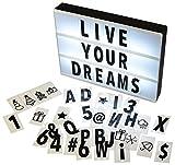 Gadgy ® Caja de Luz Cinematográfica A4 | Cinema Lightbox con 96 Letras Números y Símbolos | Tamaño 30x22x4,5cm | Funciona con Pilas | Caja Luz LED Vintage