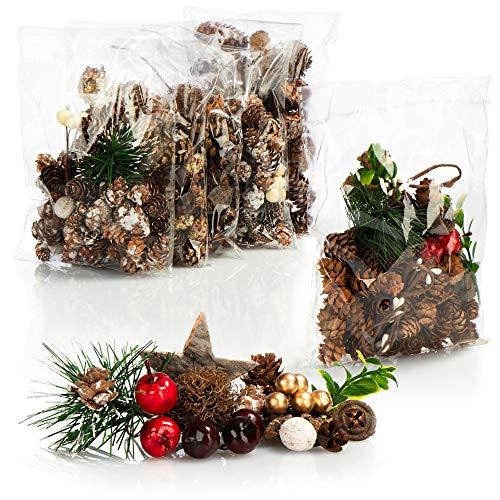 com-four® 6X Weihnachtsdekoration im Beutel mit Zapfen, Zweigen und Beeren - Streudeko weihnachtlich - Bastel Set - Tischdeko - Adventskranz - Weihnachtsschmuck (6X Beutel: Zapfen. Zweige. Beeren)
