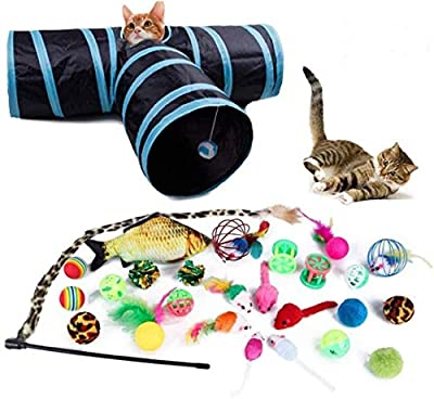 Reehi 27Pcs Christmas Cat Toys Kitten Toys Assorted with Cat Tunnel for Indoor Cats, Cat Interactive Toy for Kitty and Cats