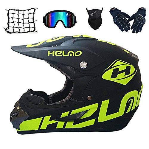 Motocross Helm Set mit Brille Handschuhe Maske Motorrad Netz, Kinder Crosshelm D.O.T Standard Kinder Quad Bike ATV Go-Kart-Helm (M)