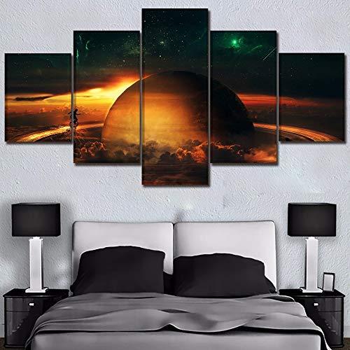 5 Stücke von Multi-Size-Leinwand Wandkunst Bilder Home Decoration Bilder Planet Landschaft Ring Spielen Malerei Bilder Tiere auf Leinwand drucken Bilder der modernen Home Decoration 20x35 20x45 20