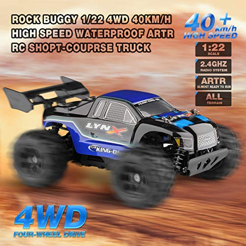 RC Auto kaufen Truggy Bild 2: Diza100 Ferngesteuertes Auto, RC Geländewagen Funkferngesteuertes Auto 4WD Motor 40 Killometer / h 1:22, Blau*