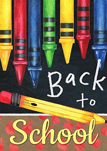 Toland Home Garden 1112196 Back to School Crayons 12.5 x 18 Inch Decorative, Garden Flag (12.5' x 18')