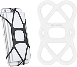 Sinjimoru Cell Phone Band Holder for Portable Charger, Elastic Rubber Silicone Band Lock Holder for Power Bank on iPhone, Security Strap Bike Mount.Silicone Band Holder, White 1pc