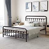Metal Bed Frame Queen Size with Headboard and Footboard Platform Base Wrought Iron Bed Frame, Sturdy Steel Slat Support,No Box Spring Needed,Bronze