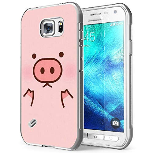 S6 Case Pig,Gifun [Anti-Slide] and [Drop Protection] Soft TPU Premium Flexible Protective Cover Case Compatible with Samsung Galaxy S6 - Cute Pink Case