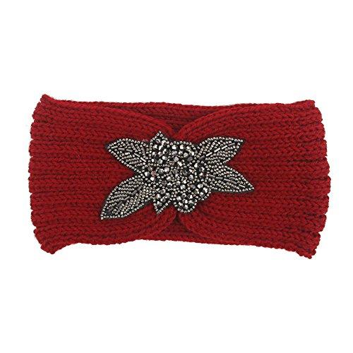 Allywit Chunky Knit Headbands Braided Winter Headbands Ear Warmers Crochet Head Wraps for Women Girls (Red)