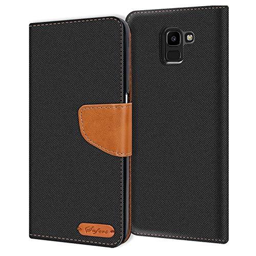 Verco Galaxy J6 2018 Hülle, Schutzhülle für Samsung Galaxy J6 2018 Tasche Denim Textil Book Hülle Flip Hülle - Klapphülle Schwarz