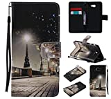 Qiaogle Teléfono Case - Funda de PU Cuero Billetera Clamshell Carcasa Cover para Samsung Galaxy On7 2016 / J7 Prime (5.5 Pulgadas) - KT16 / Ciudad Paisaje