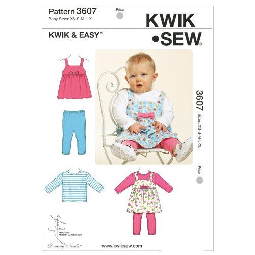 Kwik Sew Pattern K3607 Jumper, top en leggings maat XS - klein - medium - groot - extra groot, wit, 1 stuk