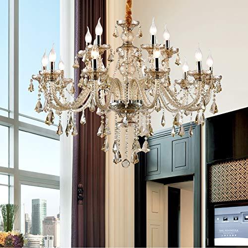 Ridgeyard Cognac(Shampane) Color E12 15 Ligths Crystal Candle Style Chandelier Ceiling Lighting Pendant Luxury Romantic Lamp for Living Room Dining Room Bedroom Hall Balcony (15 Lights Cognac)
