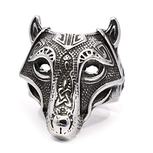Gungneer Viking Fenrir Wolf Head Celtic Triquetra Stainless Steel Ring Norse Warrior Amulet Men Women