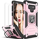Galaxy Note 9 Case,Samsung Note 9 Case with 3D Curved Screen Protector[2 Pack],YmhxcY Armor Grade with Rotating Holder Kickstand Non-Slip Hybrid Rugged Phone Case for Samsung Galaxy Note 9-Rose Gold