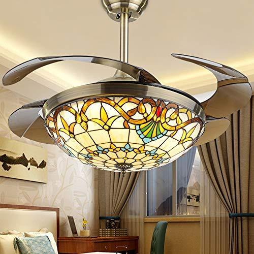 Xiqan Tiffany Ventilatore a soffitto con Luce, Lampadario a soffitto in Metallo 42in Telecomando a LED a soffitto con Ventilatore a Scomparsa Dimmerabile per Illuminazione,Brownfanblade