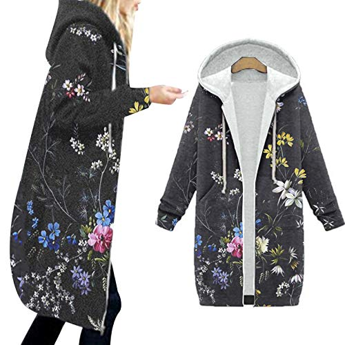 Vexiangni Chaqueta con capucha para mujer, con cremallera, informal, blusa larga, con bolsillo, trenchcoats de buena calidad, cómoda sudadera con capucha
