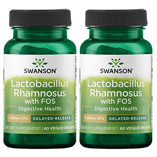 Swanson Lactobacillus Rhamnosus with FOS - Probiotic Supplement Supporting Digestive Health with 5 Billion CFU - Promotes GI Tract Health During Travel - (60 Veggie Capsules) (2 Pack)