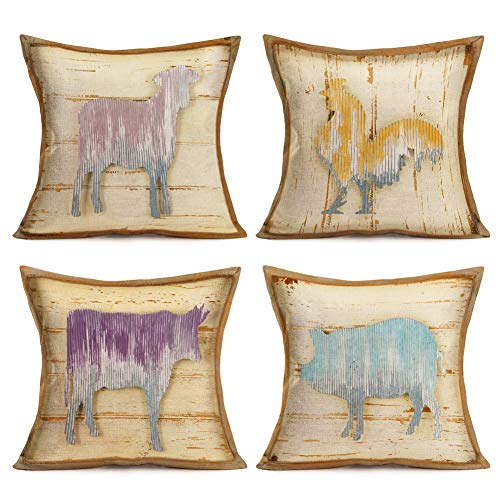 Asminifor Set of 4 Retro Rustic Wood Background Embossment Effect Animal Rooster Sheep Pig Cow Throw Pillow Covers Cotton Linen Pillowcase Cushion Cover Farmhouse Home Decor 18  X 18  (Farm-1)